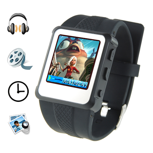 Digital Watch MP4 Player (1.5 inch, 8GB, Black)