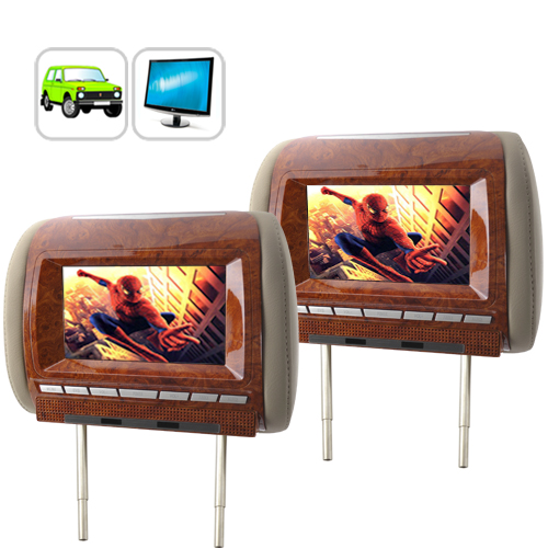 7 Inch Widescreen Car Headrest Monitor Pair (A/V Out, Luxury Edition, Beige)