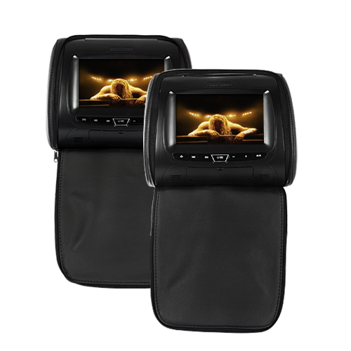 7 Inch Pillow Style Car Headrest Monitor Pair + DVD Player (Remote, Game)