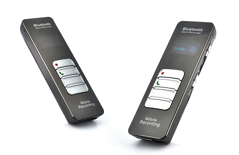 Bluetooth One-button Voice and Call Recorder for Cell Phones (1 Inch OLED Screen, 8GB)