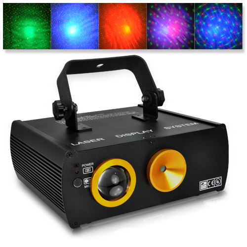 Sound Activated Red and Green Laser DMX Projector with Cloud Effects