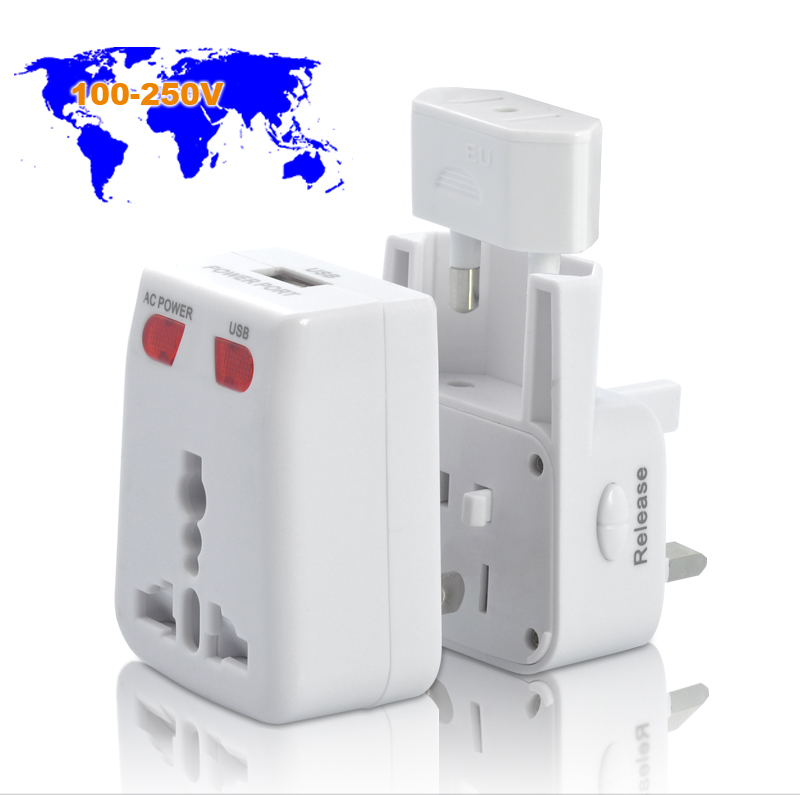 Wholesale World Travel Adapter + USB Charging Port + Adjustable Power Plugs 3-in-1
