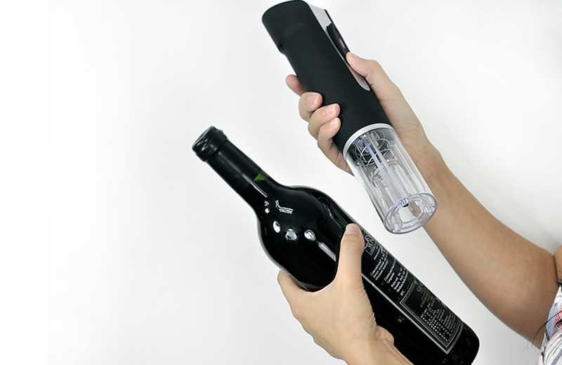 Electric Wine Bottle Opener w/ Vacuum Wine Stopper, Digital Wine Thermometer, Foil Cutter