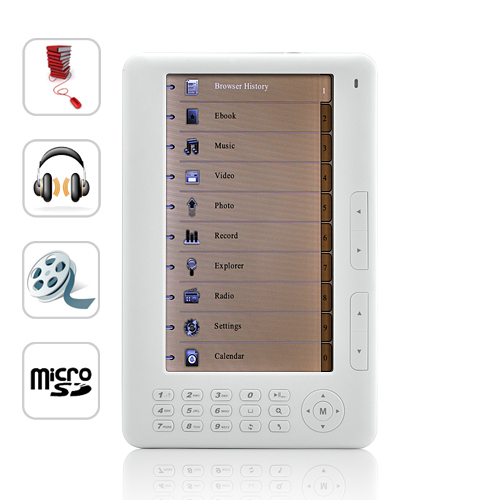 Wholesale Mebook - 7 Inch Anti-glare eBook Reader with Media Player - 4GB