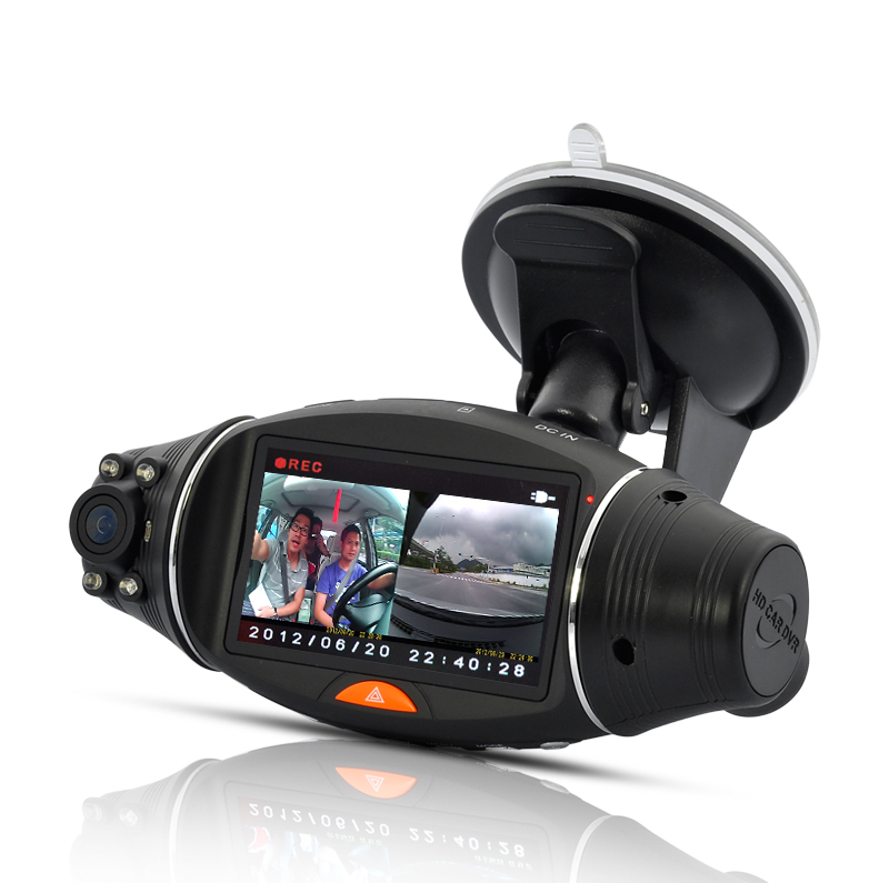 Dual Camera Car DVR with GPS Logger and G-Sensor - 2.7 Inch Screen