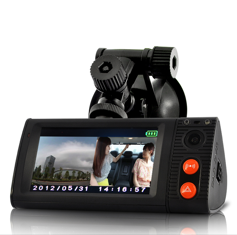 3 Inch Touchscreen Car Blackbox DVR with Dual Cameras, GPS Logger and G-Sensor