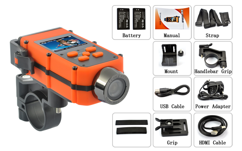 Acropolis HD - 1080P Full HD Rugged Sports Action Camcorder with Automatic Image Orientation