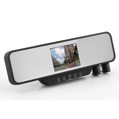 3.5 Inch Rearview Night Vision Mirror DVR with Dual Swivel Camera