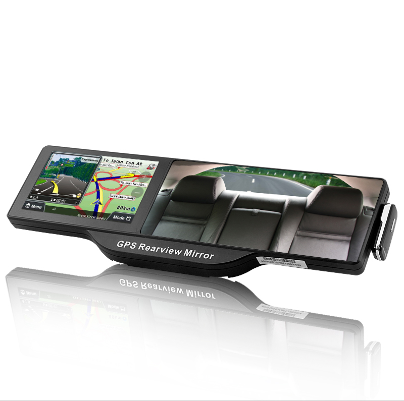 5 Inches HD Touchscreen GPS Rearview Mirror with Bluetooth