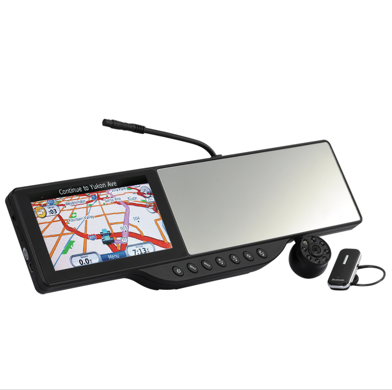 5 Inch HD Touchscreen Rearview Mirror + 720P HD DVR with GPS and Bluetooth Handset