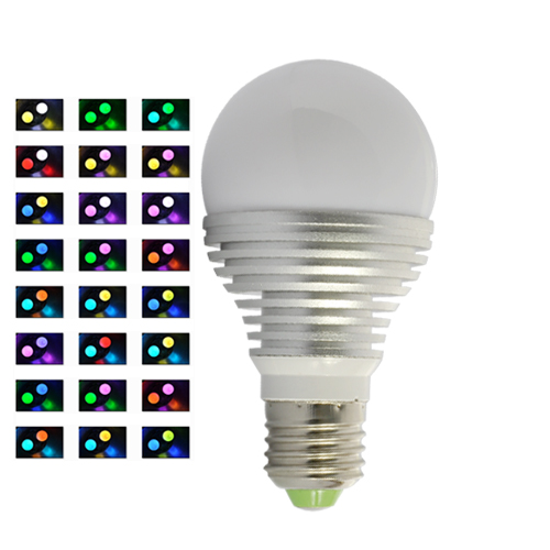 LED Color Changing Bulb - (16 Colors, Remote, 3W)