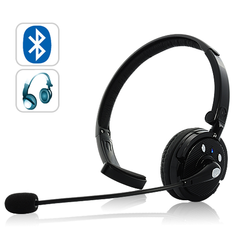 Wholesale Bluetooth 2.1 Headset with Boom Mic (Headphones Style, Ultra-long talk time)