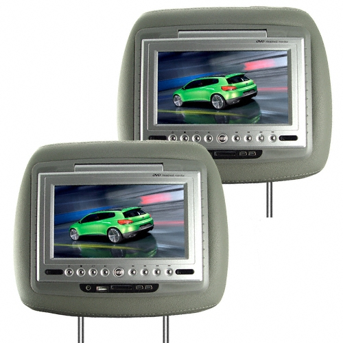 7 Inch TFT LCD Headrest Car DVD Player + Media Player (Grey, Pair)