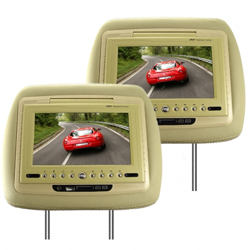7 Inch TFT LCD Headrest Car DVD Player + Media Player (Tan, Pair)