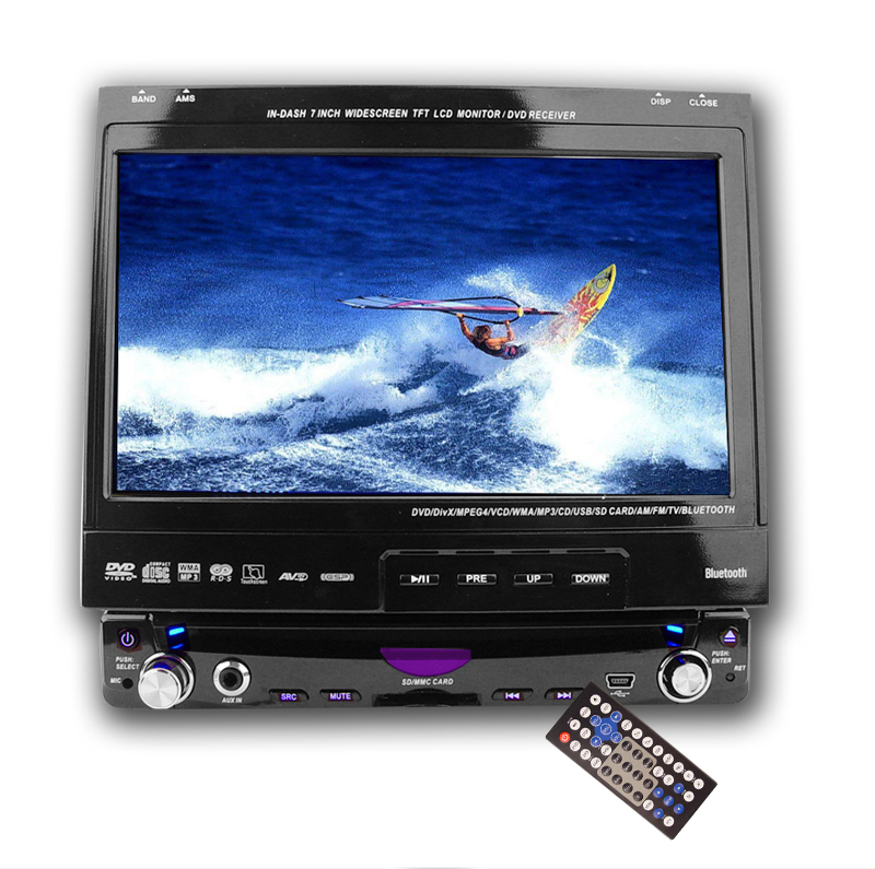7 Inch LCD Touchscreen 1 DIN Car DVD Player with Bluetooth