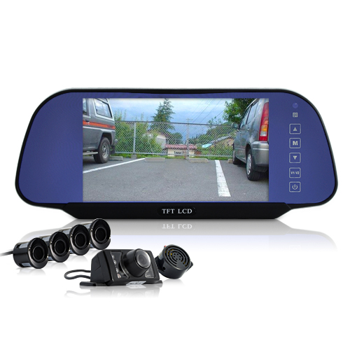 weatherproof rearview camera 4 parking sensors 7 tft lcd rearview mirror tezj 700hh 2gen. Black Bedroom Furniture Sets. Home Design Ideas