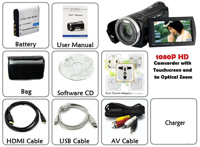 1080P HD Digital Video Camcorder (Touchscreen, Motion Detection)