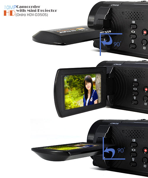 Ordro HDV-D350S - 10MP HD Camcorder + Mini Projector (H.264, HDMI Out)