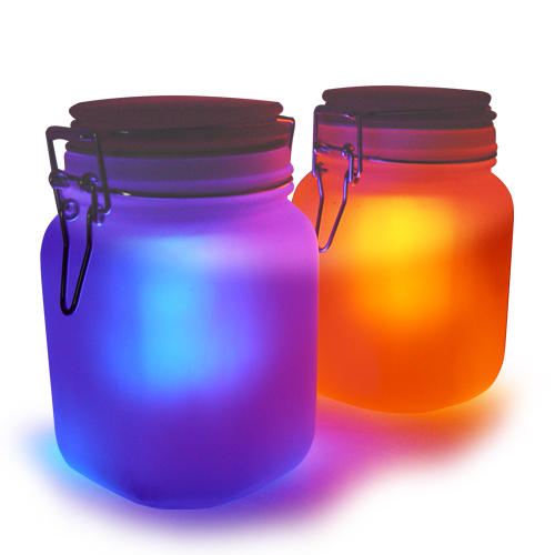 Wholesale Moon Jar - Solar Power LED Mood Light (Amber/Blue, Waterproof)