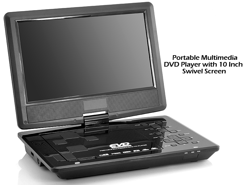 10 Inch Swivel Screen Portable DVD Player with TV Receiver