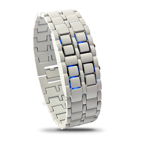 Wholesale Iron Samurai Shiro - Japanese-inspired Blue LED Watch + White Br