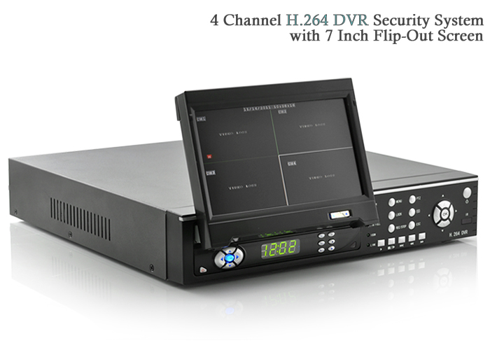 Wholesale 4 Channel DVR Security System (7 Inch FlipOut Screen, H.264, Remote)