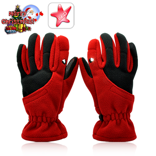 Winter Red Gloves with LED Light (Medium) - Outdoor Gadgets