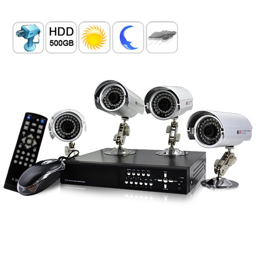 SecurONE - H.264 DVR + 4 x Weatherproof IP Cameras + 500GB HDD (Outdoors Ed.)