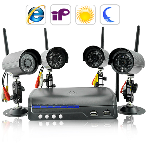 IP Camera Server + Four Wireless Security Cameras (Night Vision, Real Time)