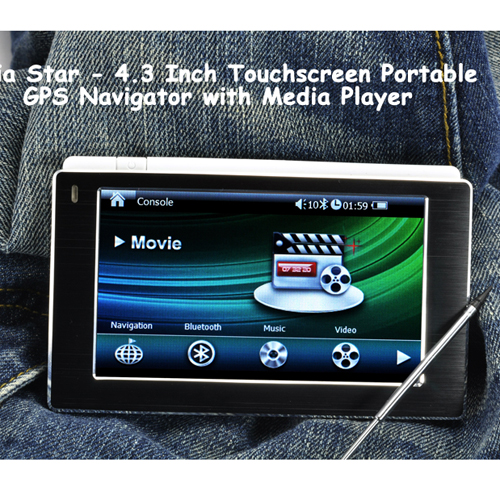 Media Star - 4 3 Touchscreen GPS Navigator (Multimedia player, FM