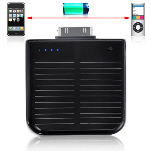 Portable Solar Battery Charger for iPhone and iPod (1900mAh, Rechargeable)