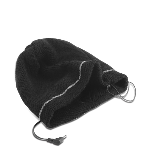 Warm Beanie Hat with Headphones (Black)