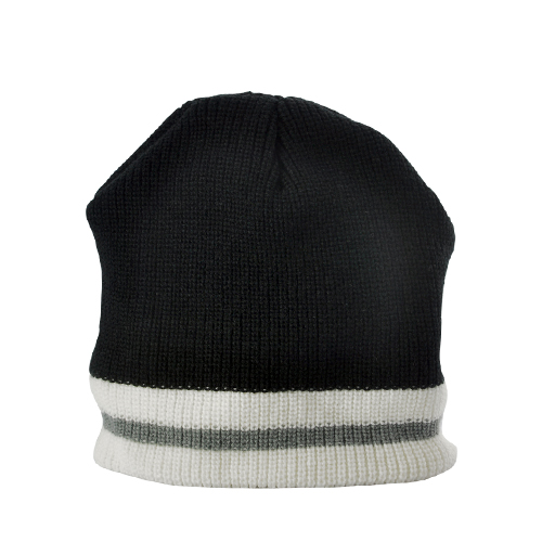 Warm Beanie Hat with Headphones (Black with White/Grey Stripe)
