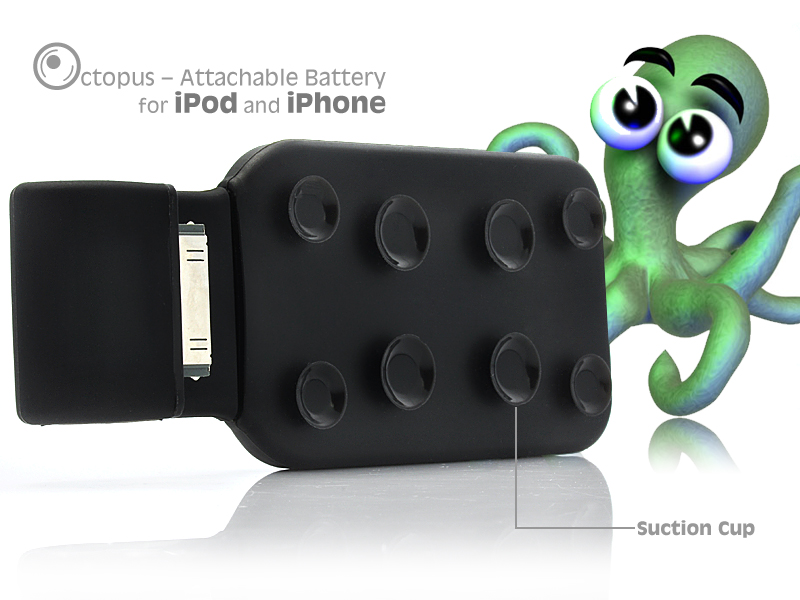 Octopus - Stick-on Battery Pack for iPhone/iPod (1500 mAh, Slim Design)