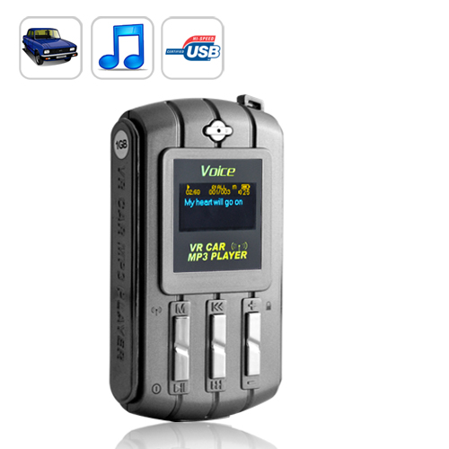 Voice Recognition Car MP3 Player with FM Transmitter - Rechargeable