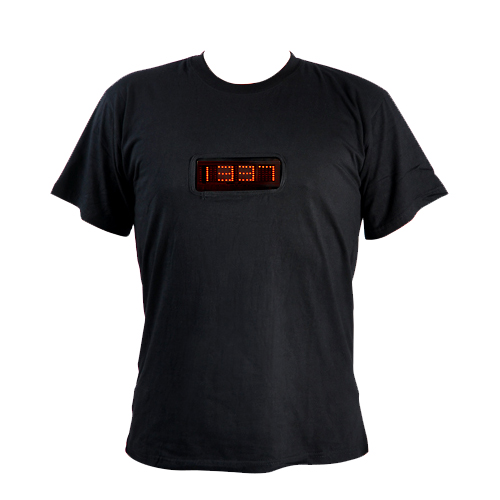 Stylish Red LED Shirt - Medium (Time + 6 Programmable Message Display)