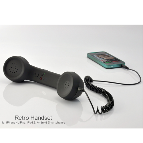 Old-fashion Handset for iPhone, Android Smartphone, iPad (Black, 3.5mm)
