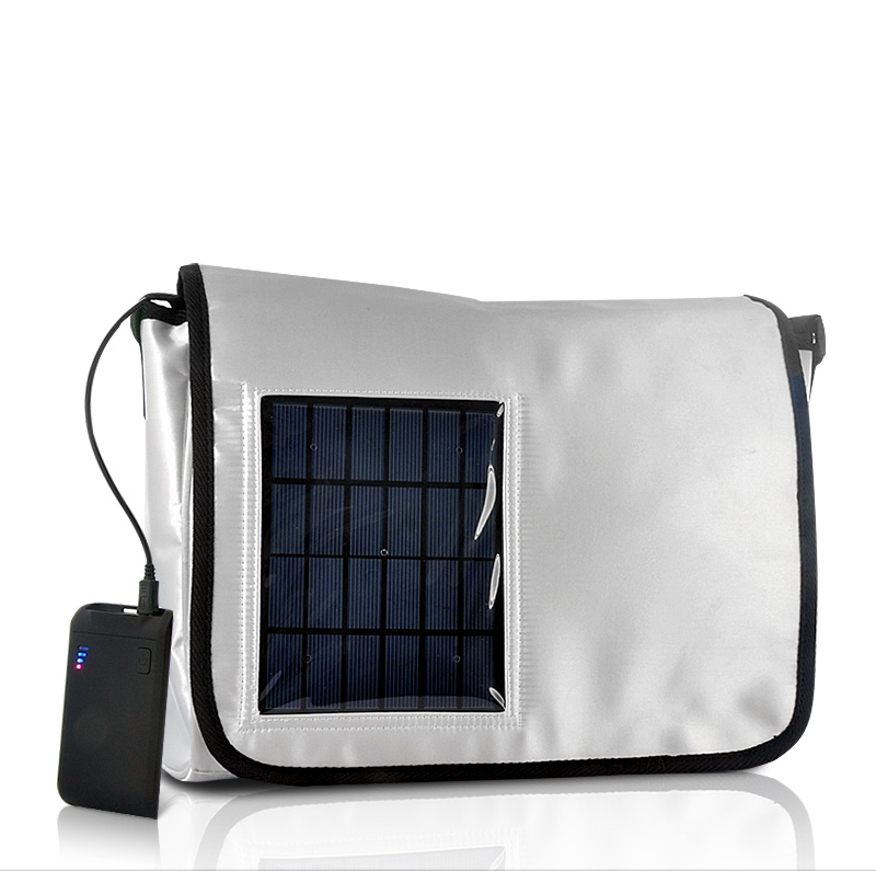 Wholesale Solar Messenger Bag with 2200 mAh Battery and charger