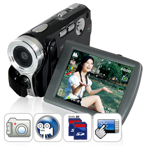 Wholesale 3 Inch Touchscreen Digital Video Camcorder (5MP CMOS, 1024x768 @ 30 FPS)