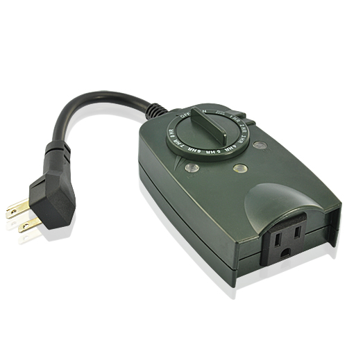 Outdoor Photocell Timer with One Grounded Outlet (Weatherproof, 110V/60Hz)