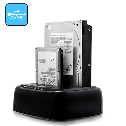 "Wholesale USB 3.0 Dual HDD/SSD Docking Station with 2.5""/3.5"" SATA Drive D"