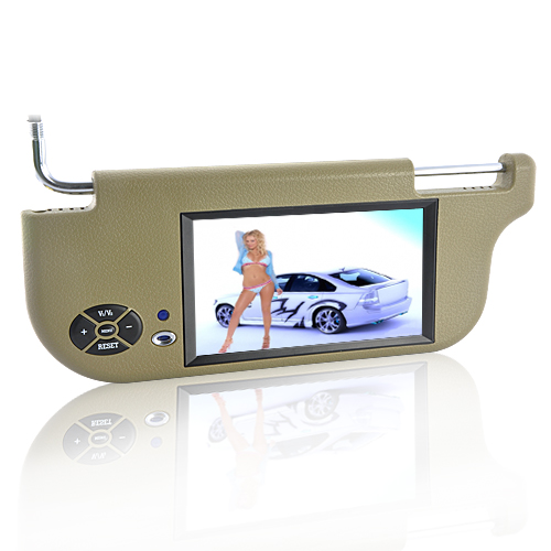 Sun Visor + 7 Inch TFT LCD Monitor (Left, Tan, Remote)