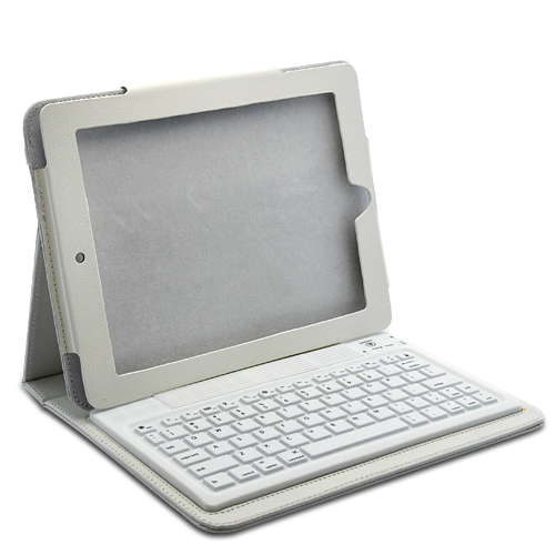 White Leather Case + Wireless Keyboard for iPad 2 and new iPad 3