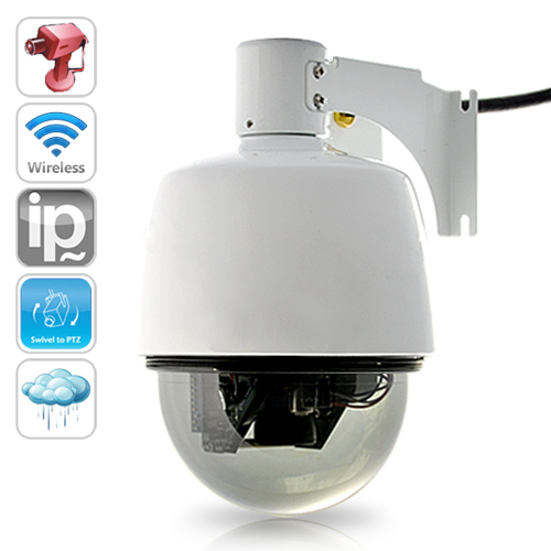 Mini IP Security Camera with PTZ Control (Weatherproof, WiFi)