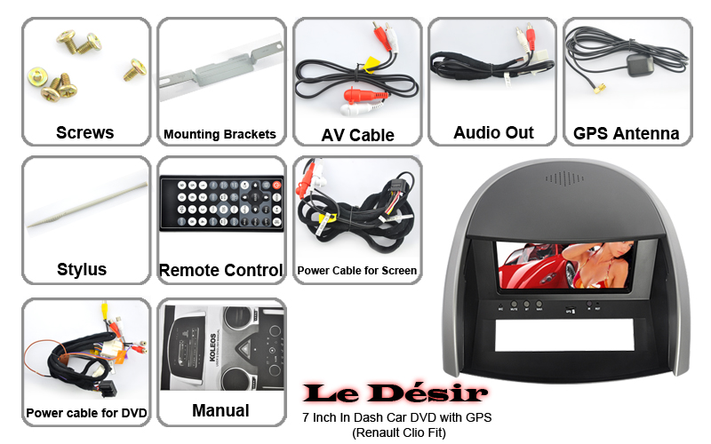 Le Desir Renault Clio 7 Tft Car Dvd Player With Gps