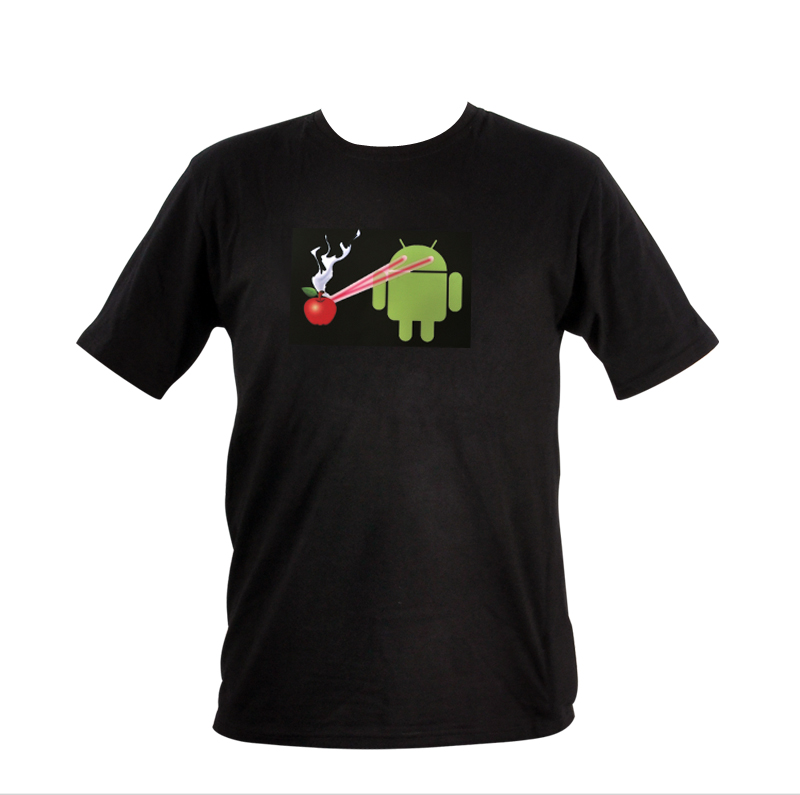 Sound Activated EL T-Shirt - XL (Android Laser Beams Apple Design)