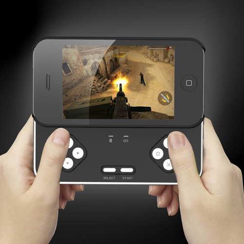 Slide-out Bluetooth Gamepad Controller for iPhone 4/4S - Black & Silver