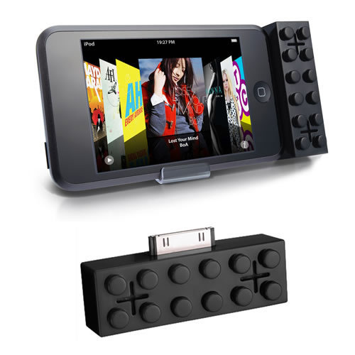 Building Brick Style Mini Speakers for iPod - Black