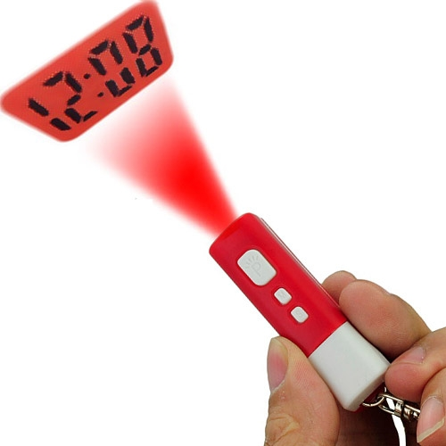 Wholesale Digital Mini LCD Projection Clock with Keychain - Red