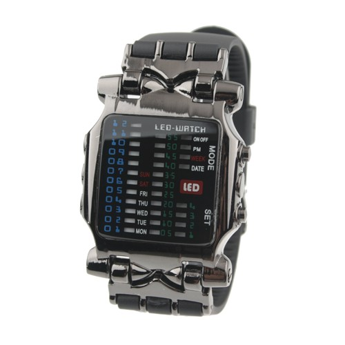 Wholesale Waterproof Binary Silicone Band Metal LED Watch - Black